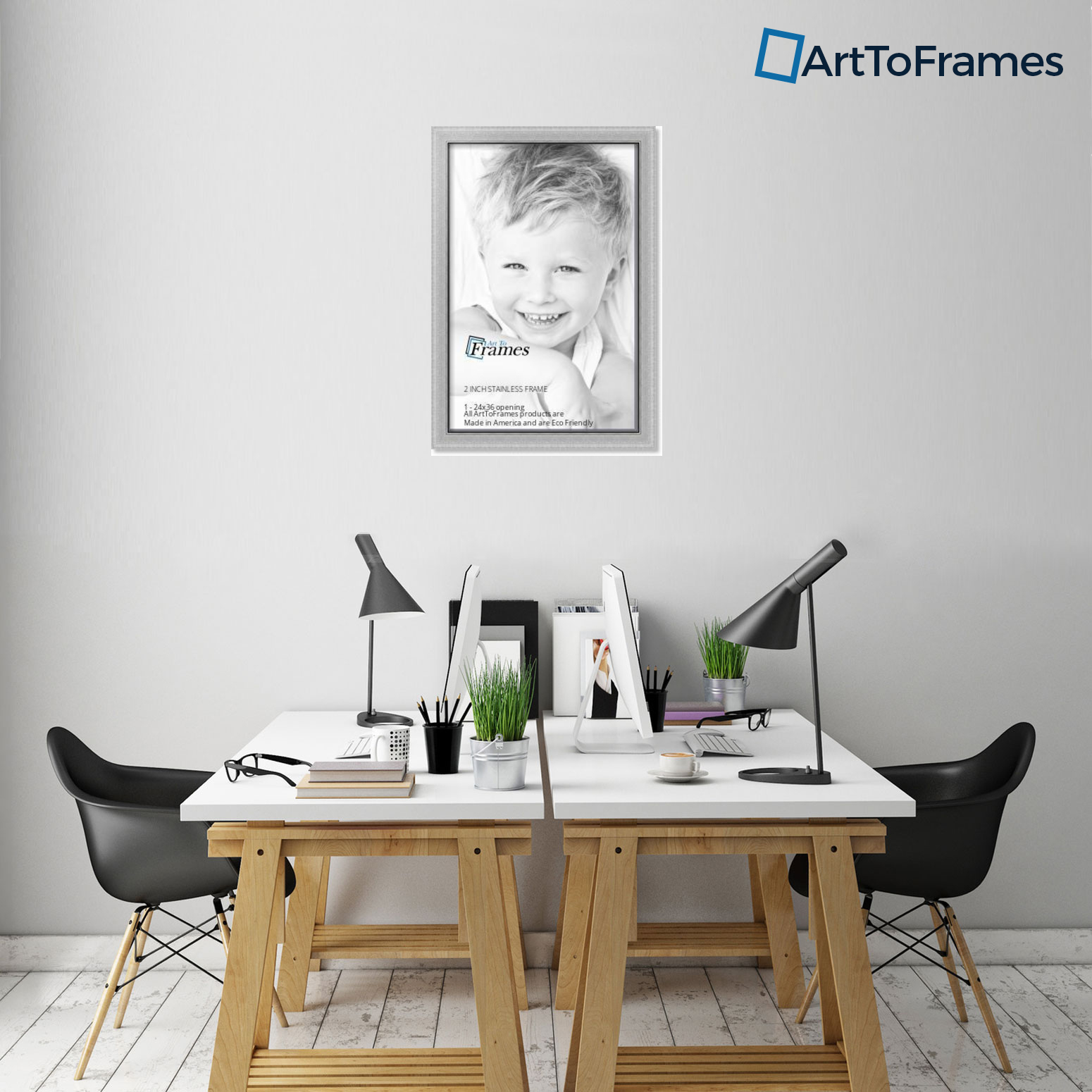 """ArtToFrames Picture Frame Custom 2/"""" Silver Stainless Steel 3980 Small"""