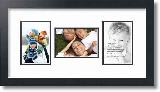 ArtToFrames Collage Photo Frame Double Mat with 2-8.5x11 Openings and Satin Black Frame