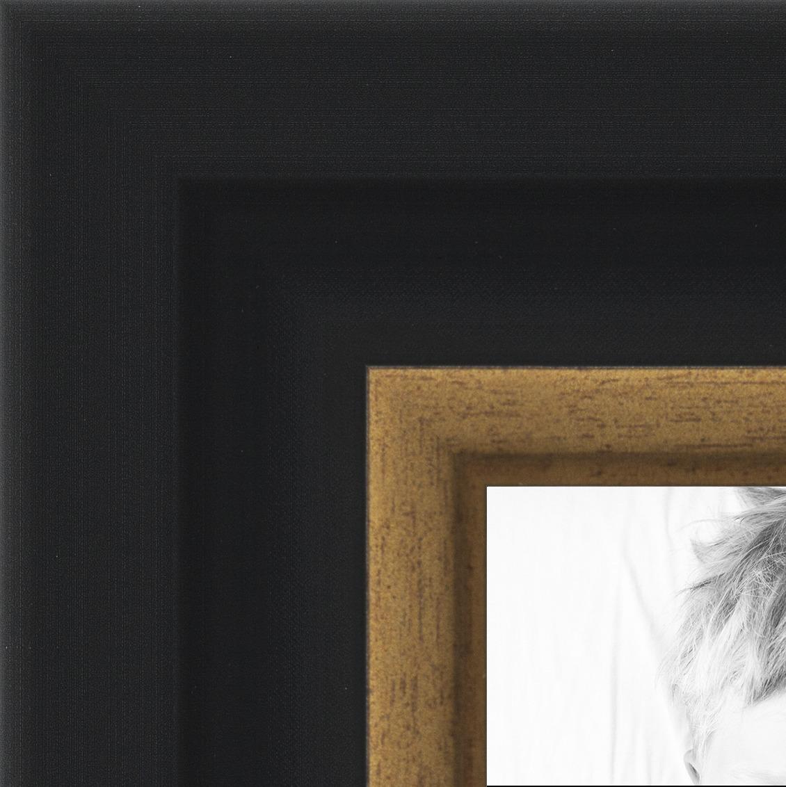 """ArtToFrames 1.25"""" Custom Poster Frame  Black Velvet w Gold 4"""